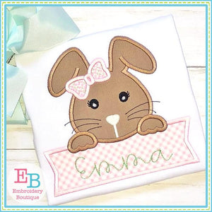 Girl Bunny Banner Satin Applique