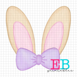 Girl Bunny Monogram Printable Design PNG