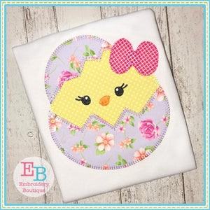 Egg Chick Girl Blanket Stitch Applique, Applique