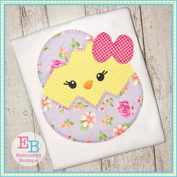 Egg Chick Girl Blanket Stitch Applique - Embroidery Boutique