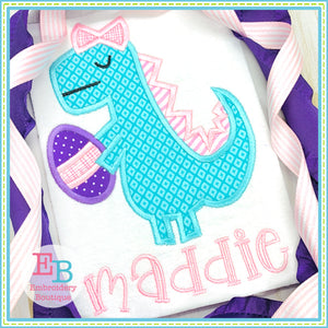 Easter Dino Bow Satin Applique-Embroidery Boutique