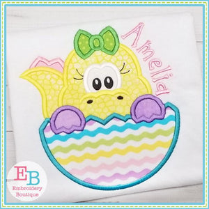 Dinosaur Girl In Egg Applique
