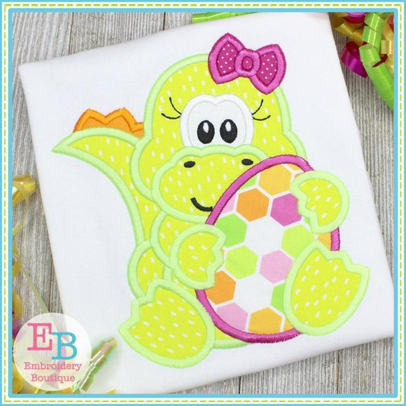 Dinosaur Girl Holding Egg Applique