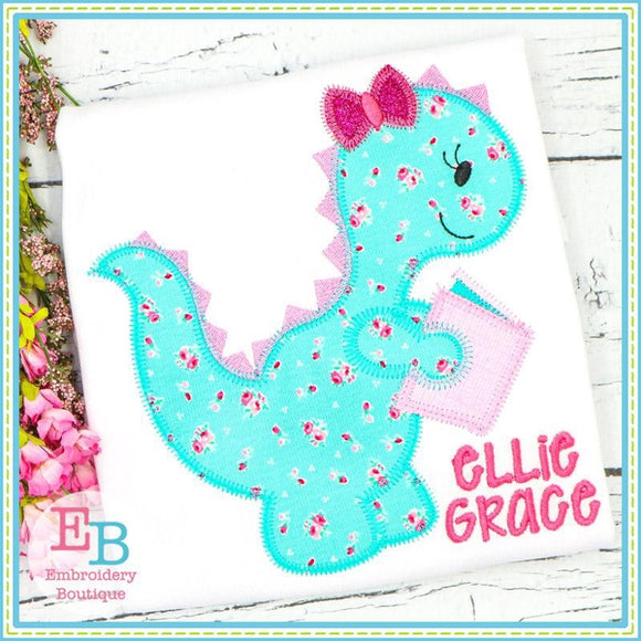Reading Dinosaur Girl Zigzag Applique