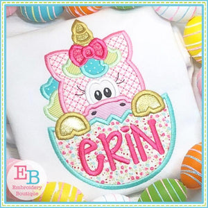 Unicorn Girl In Egg Applique