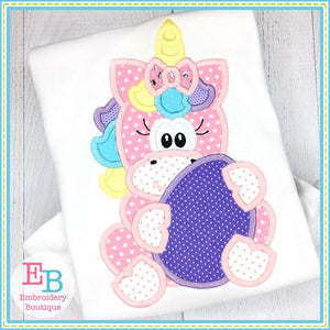 Unicorn Girl Holding Egg Applique