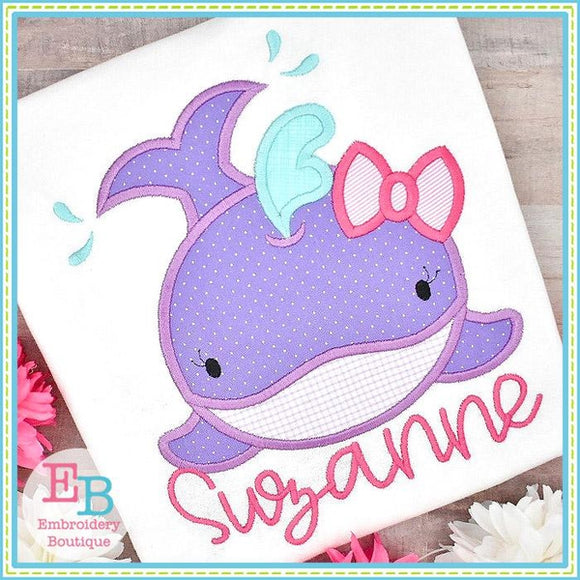 Whale Smile Girl Satin Applique