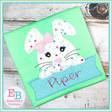 Girl Bunny Banner Applique - embroidery-boutique
