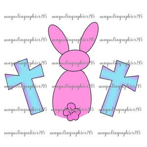 Girl Bunny with Cross Printable Design PNG