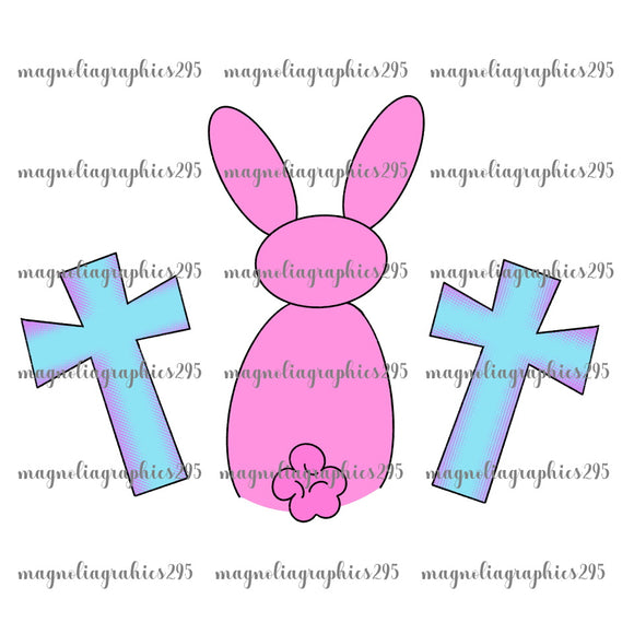 Girl Bunny with Cross Printable Design PNG-Embroidery Boutique