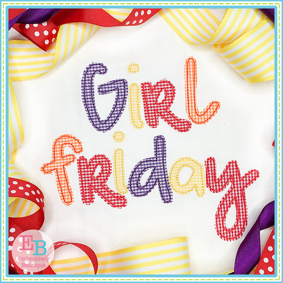 Girl Friday Bean Applique Font
