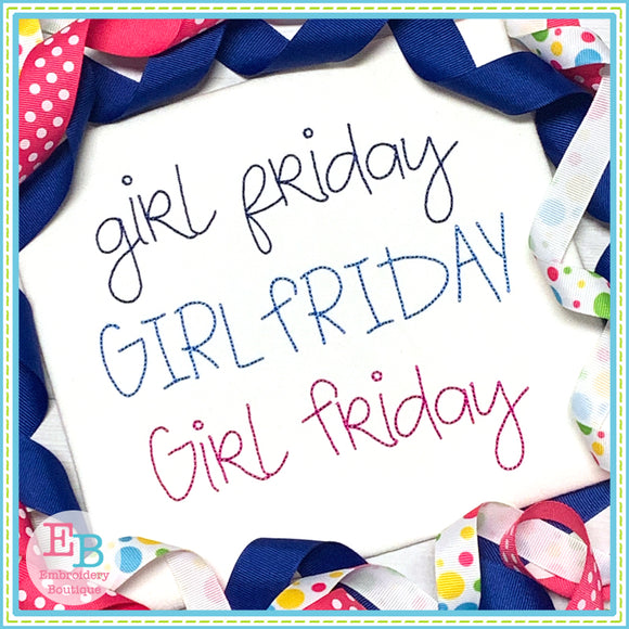 Girl Friday Bean Embroidery Font, Embroidery Font