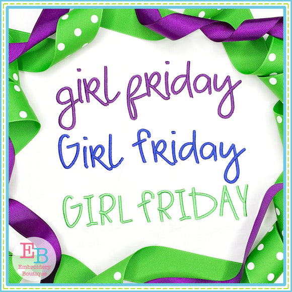 Girl Friday Satin Embroidery Font, Embroidery Font