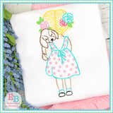 Girl Puppy Watercolor Embroidery Design, Embroidery