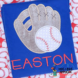 Glove Baseball Satin Stitch Applique