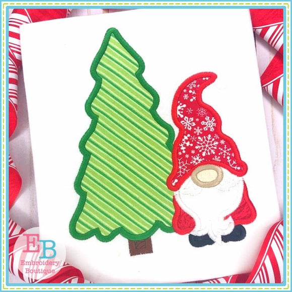 Gnome Christmas Tree Applique