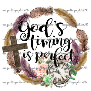 God's timing is Perfect Printable Design PNG, Printable