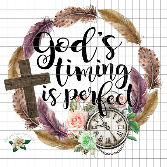 God's Timing is Perfect PNG Printable Design