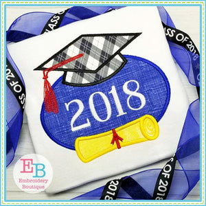 Grad Diploma Cap Applique, Applique