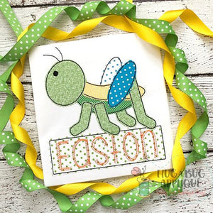 Grasshopper Bean Stitch Applique Design, Digital Download