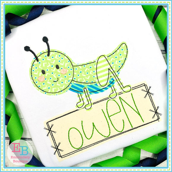 Grasshopper Banner Bean Stitch Applique, Applique