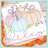 Pumpkins Berries Sketch Design, Embroidery