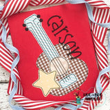 Guitar Star Bean Stitch Applique Design, Applique