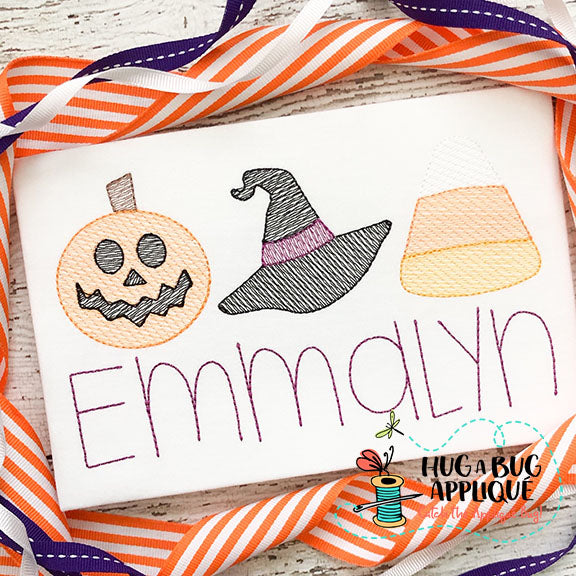 Halloween Trio Sketch Embroidery Design-Embroidery Boutique