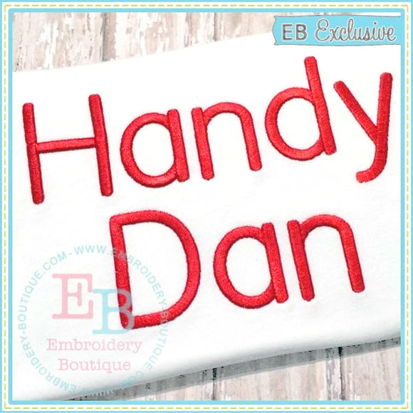 Handy Dan Embroidery Font-Embroidery Boutique