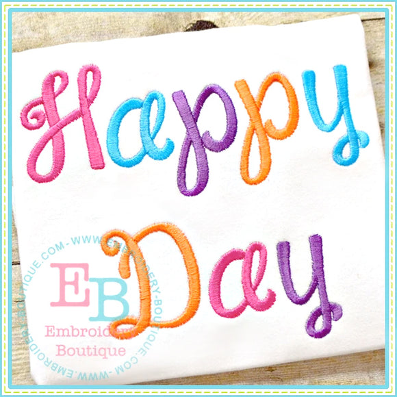 Happy Day Embroidery Font-Embroidery Boutique