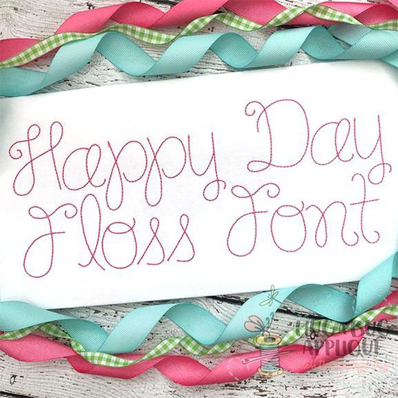 Happy Day Floss Stitch Embroidery Font, Embroidery Font