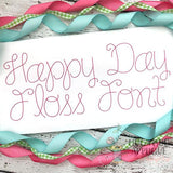 Happy Day Floss Stitch Embroidery Font, Embroidery