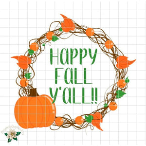 Happy Fall Y'all Printable Design - Embroidery Boutique