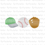 Hat Ball Glove Trio Sketch Stitch Embroidery