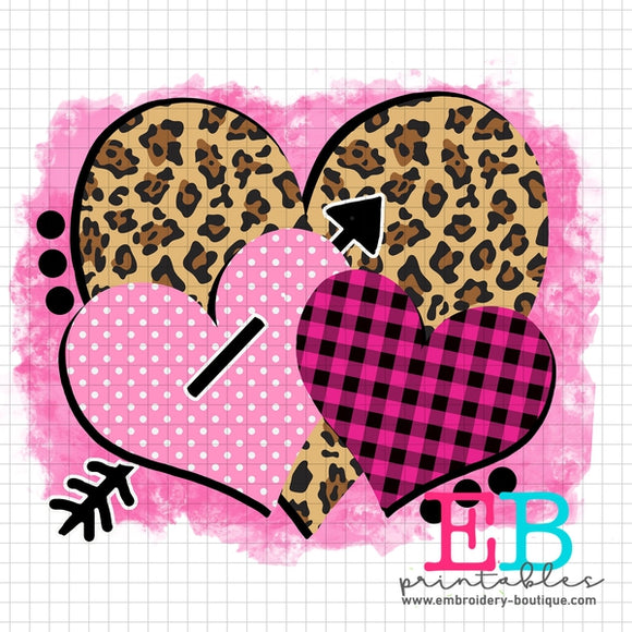 Heart Trio Printable Design PNG - embroidery-boutique