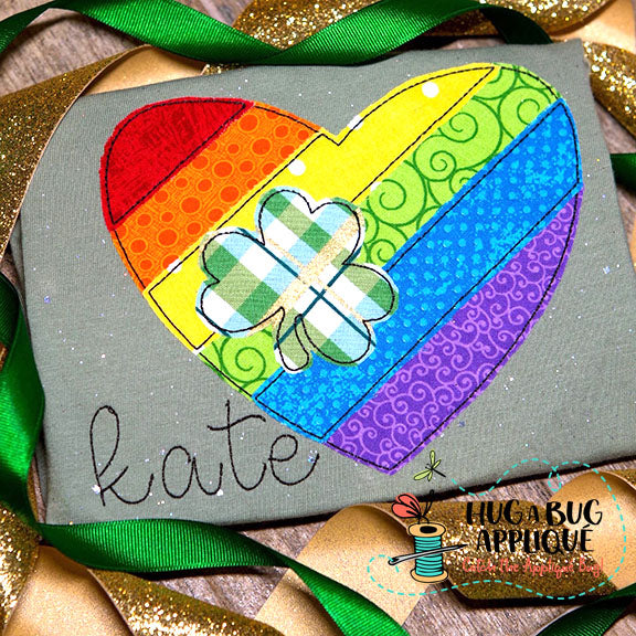 Heart Clover Bean Stitch Applique Design