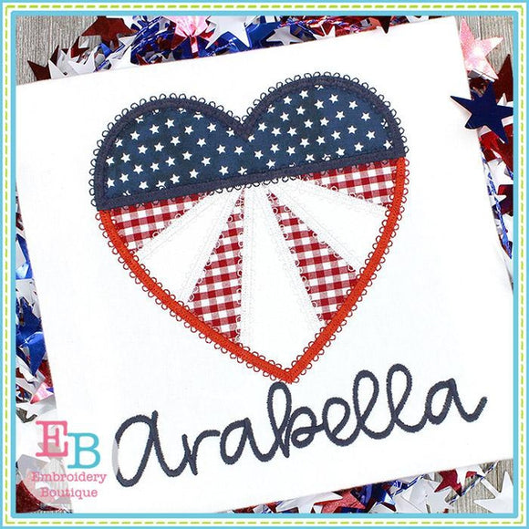 Heart Red White Blue Applique
