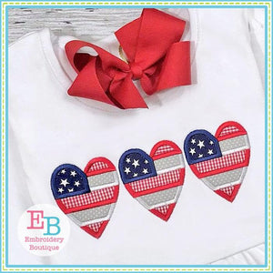 Heart Flag Trio Applique - embroidery-boutique