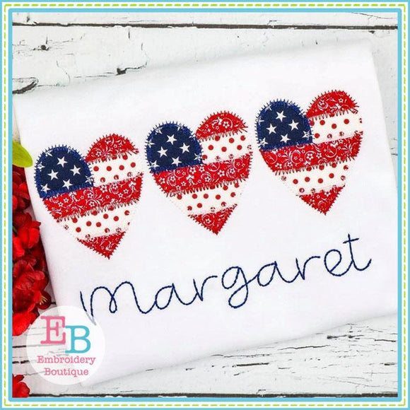 Heart Flag Trio Zigzag Applique - embroidery-boutique