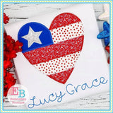 Heart Flag Zigzag Applique