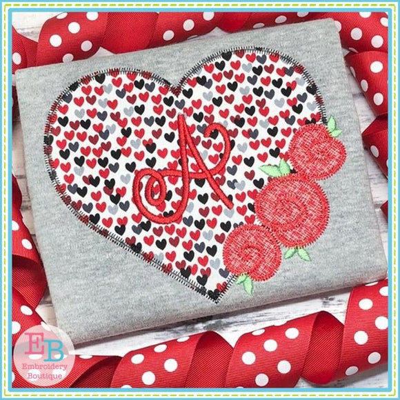 Heart Roses Zigzag Applique, Applique