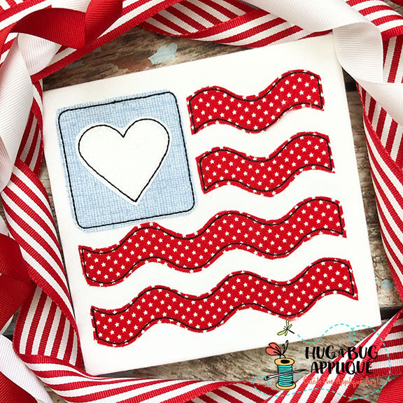 Flag Heart Wave Bean Stitch Applique Design