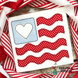 Flag Heart Wave Bean Stitch Applique Design, Applique