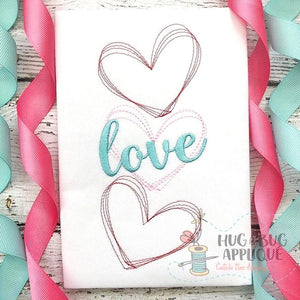 Hearts Love Sketch Embroidery Design, Embroidery