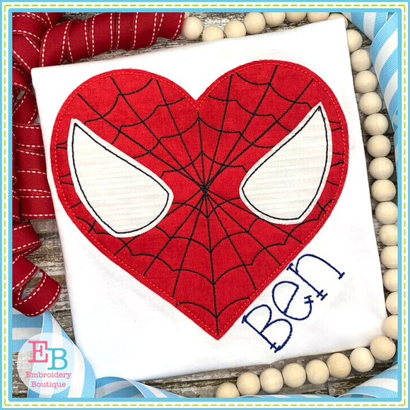 Heart Spidey Bean Stitch Applique, Applique