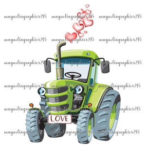 Valentine Tractor Printable Design PNG, Printable