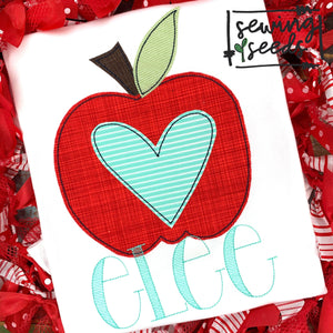 School Apple with Heart Applique SS - Sewing Seeds