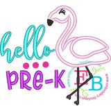 Hello Pre-K Applique, Applique