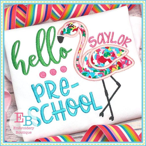Hello Preschool Applique, Applique