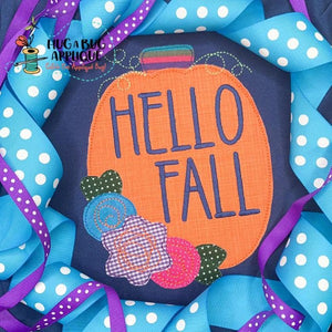 Hello Fall Pumpkin Bean Stitch Applique Design, Applique
